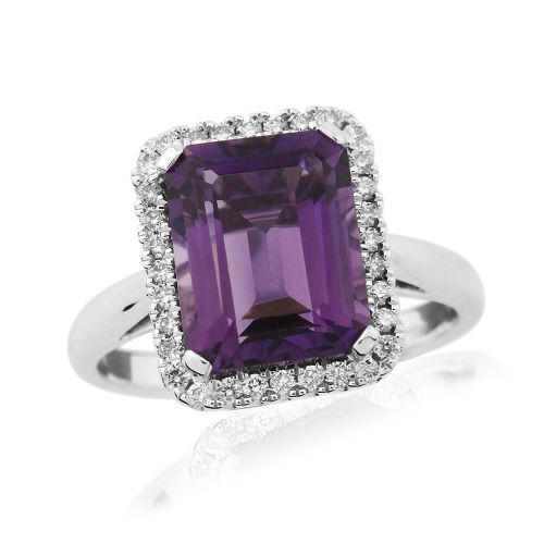 Amethyst And Diamond 9 Carat White Gold Cluster Ring